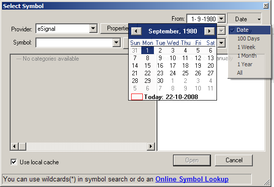 Select Symbol Date Picker Screenshot